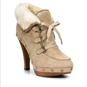 Guess Bountiful Suede Faux Fur Platform Heels